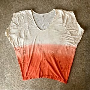 LOFT | EUC | Orange Peach Ombré Casual Tee Loose